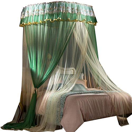 SCJ Moskitonetz, Kuppelbett Markise verziert doppelschichtige Verschlüsselung freie Installation Deckennetz Moskitonetz, 4 ft / 5 ft / 6 ft / 6.6 ft Bett, Hausbett Vorhangnetz (Farbe: Grün) -