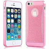 Elegante funda transparente, gel de silicona con lentejuelas, para iPhone 5 / 5S - Color Rosa - NOVAGO ®