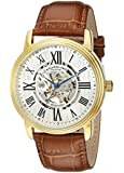 Stuhrling Original Classic Delphi Venezia Men's Automatic Watch with Silver Dial Analogue Display and Brown Leather Strap 1077.3335K2