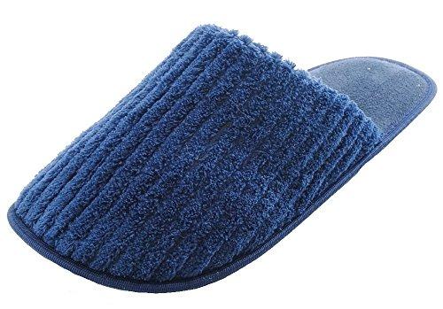 Gerippte Terry Hausschuhe Pantoffeln, offene Rückseite Marineblau