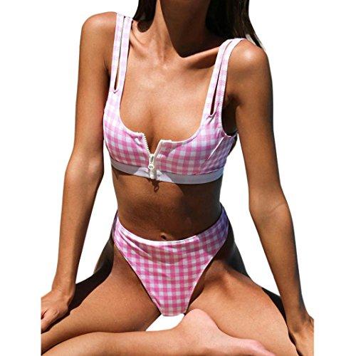 Swimwear Set ,Beikoard Women Sexy Plaid Bikini Set Push-Up Padded Swimwear Swimsuit Low Waist Bathing Beachwear