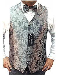 NEW MEN'S QUALITY PAISLEY WAISTCOAT & BOW TIE SET IN 5 DIFFERENT COLOUR ***SAME DAY POSTING***