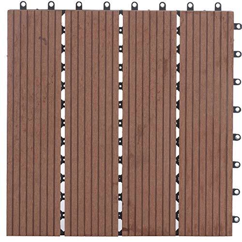 #WPC Fliesen mit Klicksystem für den Balkon und Garten 30x30cm 1m² (11 Stück) | Terrassen-fliesen von Nordje® (Braun)#