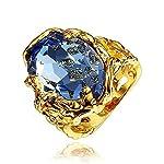 Blue Big Stone Ring Yellow Statement Ring Size 9