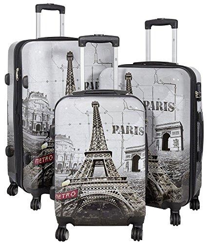KoTaRu PARIS II 36909 Designer Koffer Reisekoffer Handgepäck Trolleyset Reiseset, Grösse:3er Set