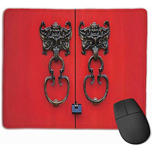 Fledermaus-Türklopfer auf Tür-lustiger Mausunterlage mit genähtem Rand Mauspad Rutschfestes Gummiunterseite Büro Mousepad