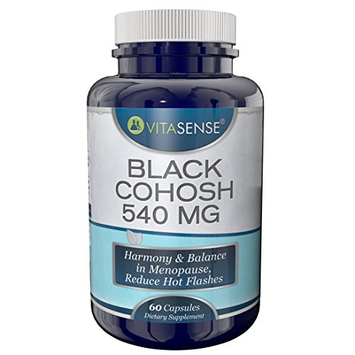 VitaSense Schwarzer Frauenwurz 540 Mg - Harmonie und Gleichgewicht im Klimakterium, Reduziert Hitzewallungen - 60 Kapseln