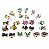 Cute Cartoon Color Enamel Magnetic Clip-on Stud Earrings for Kids Teenage girls Women, Pack of 12 Pairs