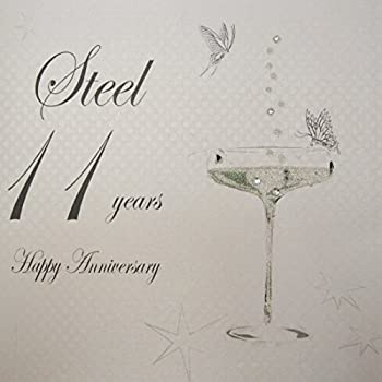 11th wedding anniversary card amazon kitchen home white cotton cards bd111 coupe glass happy anniversary steel 11 years handmade anniversary card white m4hsunfo Images