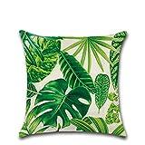 Moonuy Kissenbezug Home Office Sofa Hug Kissenbezug Handauflagen Multicolor CushionGreen Leaf Design Leinen 45x45 cm