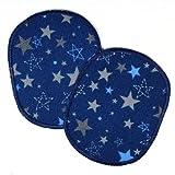 Knieflicken Set retro Sterne dunkelblau 2 Flicken zum aufbügeln 10 x 8 cm Bügelflicken Aufbügler Hosenflicken für Kinder Applikationen Bügelbilder