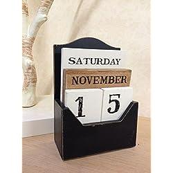 Bloque de madera de la vendimia Perpetuo Calendario elegante retro diseño rústico Se adapta a cualquier Año