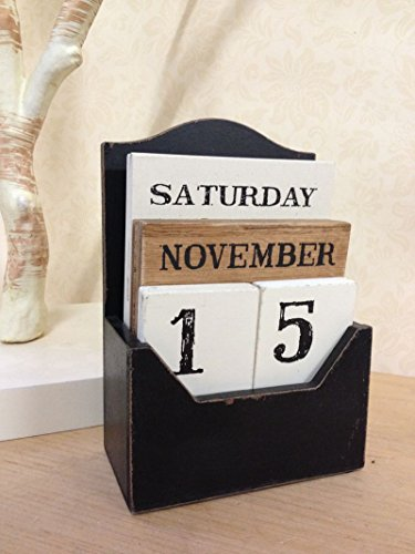 Vintage Wooden Perpetual Calendar Block Retro Shabby Rustic Design Fits Any Year