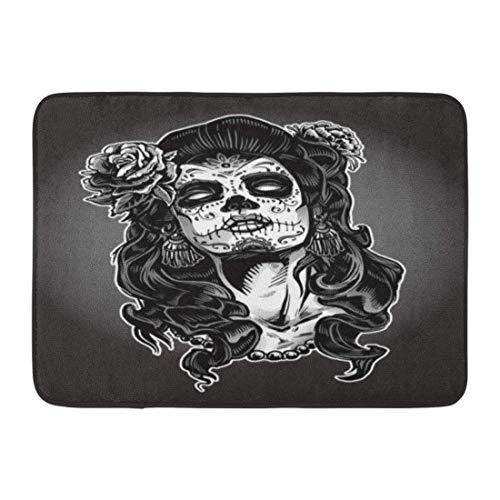 LIS HOME Fußmatten Bad Teppiche Outdoor/Indoor Fußmatte grau Tattoo Frau Zucker Schädel Gesicht malen Dead Day Zombie Halloween Badezimmer Dekor Teppich Badematte