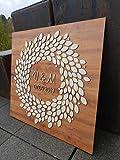 Manschin Laserdesign Personalisiertes 3D Gästebuch aus echtem Holz - Baum - Gästebuch Alternative - (Nussbaum Hell, 69x67)