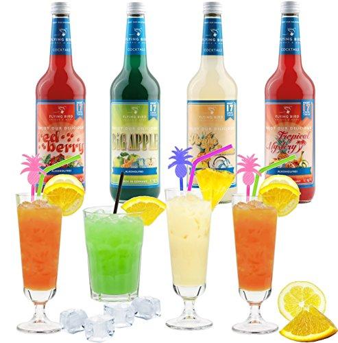 Cocktail Mix Set für 68 fertige Mischgetränke alkoholfrei - 4 Flaschen PreMix à 0,7 l mit allen Zutaten - Einfach mit Saft & Eis auffüllen, fertig