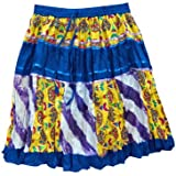 Mogul Interior Mini Skirt Blue Yellow Patchwork Printed Cotton Boho Gypsy Retro Skirts