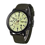 Vovotrade Uomo quarzo militare dell'esercito Black Watch Dial Data Sport Luxury orologio da polso verde