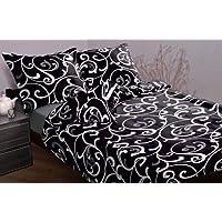3 pièces MAKO SATIN drap noir blanche 200x200 cm grande pointure surlargeur!
