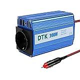 DTK 300W Wechselrichter DC 12 V zu AC 230 V 240 V Transformator Auto Ladegerät Leichter Adapter mit 3 Pin Stecker und Dual USB Ports