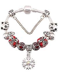 738d66a6c65b GSYDSZ Pulseras de Plata Antigua del Encanto Plateado para Las Mujeres  Pulsera de Cristal cristalino del