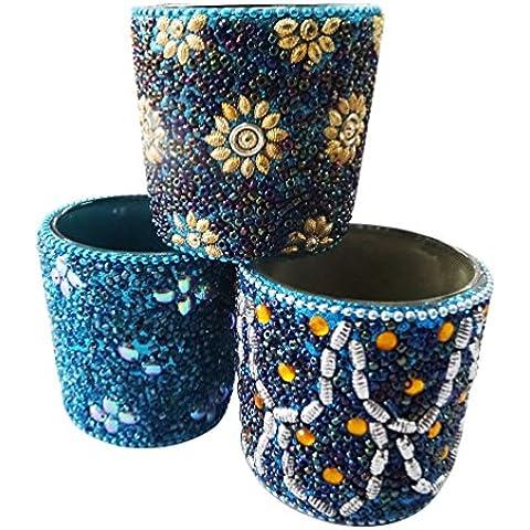 indio luz de té decoración del hogar un conjunto de 3 piezas de material antiguo lac vidrio moldeada del estilo decorativo de la vela azul de artículos de regalo del sostenedor Día de la