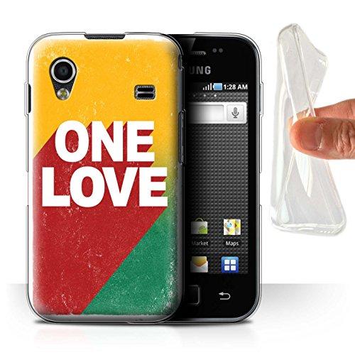 Stuff4 Custodia/Cover/Caso/Cassa Gel/TPU/Prottetiva Stampata con Il Disegno Arte Rasta Reggae per Samsung Galaxy Ace - One Love Manifesto