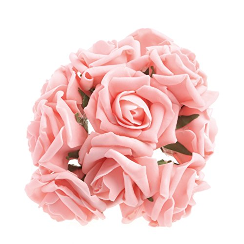 (CUIGU 100farbecht Schaumstoff Künstliche Blumenstrauß Rose Blumen Hochzeit Braut Party Decor Deep Peach Color)