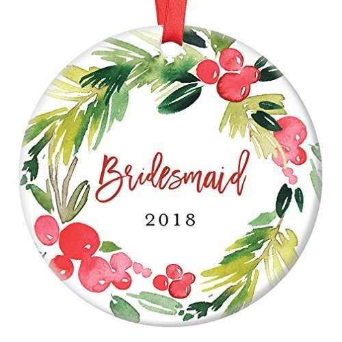 Bridesmaid Gifts, Christmas Ornament for Best Friend 2018, Will You Be My Bridesmaid? Proposal Wedding Party Favor Ceramic Keepsake Present Idea Flat Circle Porcelain (First Birthday Party Favor Ideen)