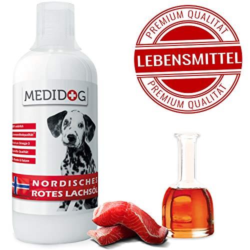 Medidog 1 Liter Rotes Omega 3 Lachsöl, Naturtrüb, Super-Premium Lebensmittelqualität, Kaltgepresst, Lachsöl für Hunde und Katzen, Barf Öl mit lebenswichtigen Fettsäuren -