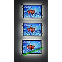 """Umei Pack of 3units Double Sided Cable Suspended LED Light Pocket for Poster Display(insert Size 11"""" wx8.5 h"""