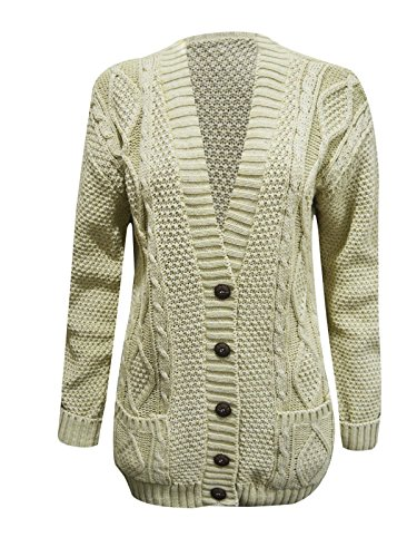 NEUF pour femmes Câble de Ladies tricoté boutons Poches Épais grand-père manches longues chaude pull cardigan Beige/Pierre