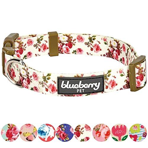 Blueberry Pet New Frühlingsduft Inspiriertes Pinke Rosen Muster Elfenbeinfarben Hundehalsband, M, Hals 37cm-50cm -