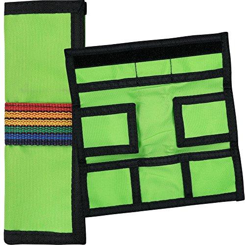 Leinwand Tri-fold Wallet (Dart Fall–Designa–Leinwand Trifold Wallet–Leinwand–Lime Grün–mit Darts Ecke gebogen Kugelschreiber)