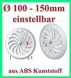 Lüftungsgitter Abschlussgitter Insektenschutz rund Ø 100-150mm weiß ABS T88