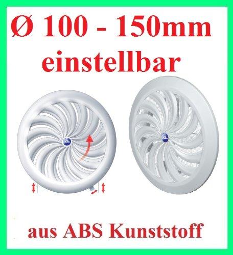 Access Panels UK - Copertura rotonda regolabile per bocchetta di ventilazione dell'aria controllata da maniglia e a mano, 100 to 150 mm