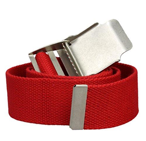 Ceinture Tissu extra solide en blanc oder noir - 3 fois plus forte q'une ceinture normale - Logueur totale 110 - 130cm rouge extra solide