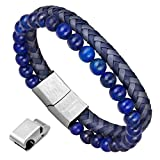 Men's Bracelet, Natural Healing Stone Leather Braided Bracelet - Best Reviews Guide