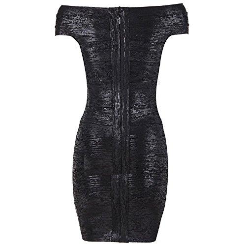 HLBandage Women's Sexy Metallic Off Shoulder Rayon Mini Bandage Dress Noir