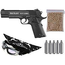 Pack pistola Perdigón Gamo Red Alert RD-1911 Blowback. Calibre 4,5mm BBS. Potencia 1,1 Julios + Gafas antivaho + Pañuelo cabeza decorado, + Balines + Bombonas co2