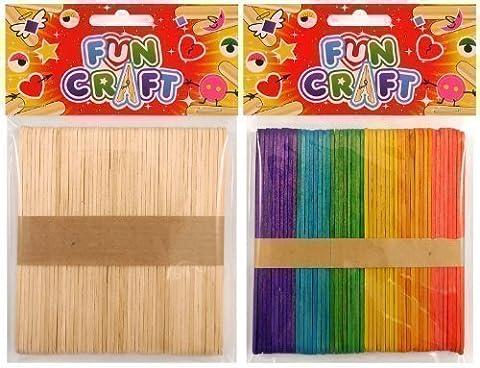 En couleur 50 x Sucette Sucette Glacée Enfants Gamins Art Artisanat Bâtons En Bois