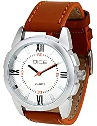 Dice Alumina-1755 Analog Wrist Watch For Men. Fitted with White Dial and Leather Strap.