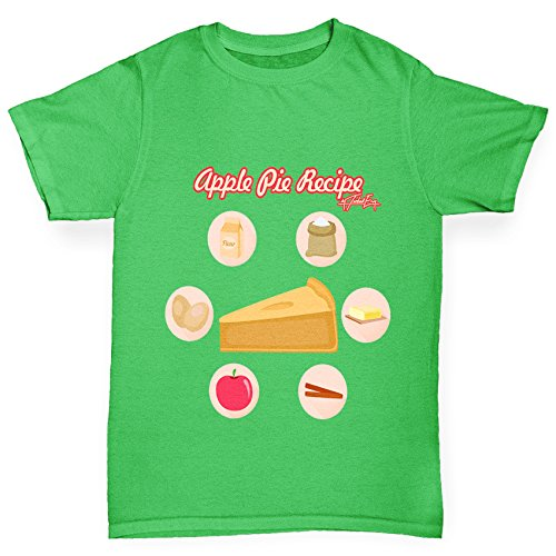 TWISTED ENVY Jungen T-Shirt Apple Pie Recipe Print Age 12-14 Grün (Apple Herren Grn)
