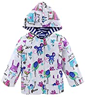 X&F Little Girls Butterfly Prints Hooded Raincoat Waterproof Jacket Rainwear 4-5 Years, Animal