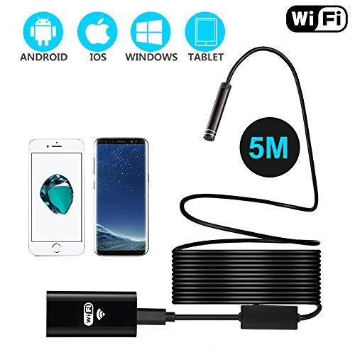 WiFi Endoskop, Hoyee USB Endoskopkamera 8 LED-Leuchten Wasserdicht Halbsteif Kabelloses Inspektionskamera, 2.0 Megapixel HD Handy Schlange Kamera für Android, iPhone, IOS Smartphone, Tablette-5M -