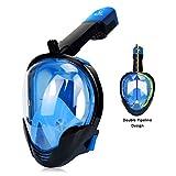 ZOOYAUE Tauchmaske Vollgesichtsmaske,Easybreath Full Face Schnorchelmaske, Doppel-Airflow-Rohre Design Schnorchelmaske für Kinder und Erwachsene, mit Gopro Kamera Halterung, Schraube- Blau(L/XL)