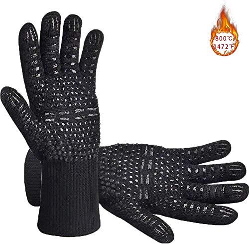 Senders Grillhandschuhe, Ofenhandschuhe Hitzebeständige bis zu 800 ° C Grill Handschuhe Universalgröße Kochhandschuhe Backhandschuhe rutschfeste mit Silikon für BBQ/Kochen/Backen/Schweißen