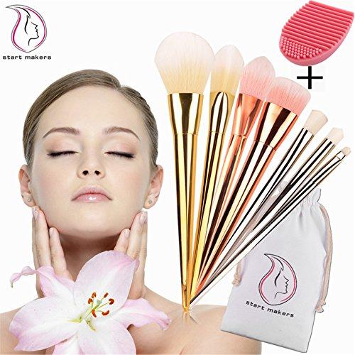 Pinceaux de Maquillage, Start Makers Kit de 7 Pinceaux professionnels pour le Maquillage + 1 brosse pour nettoyer ses pinceaux . Pinceaux avec manches en plastique et avec une brosse en poils doux
