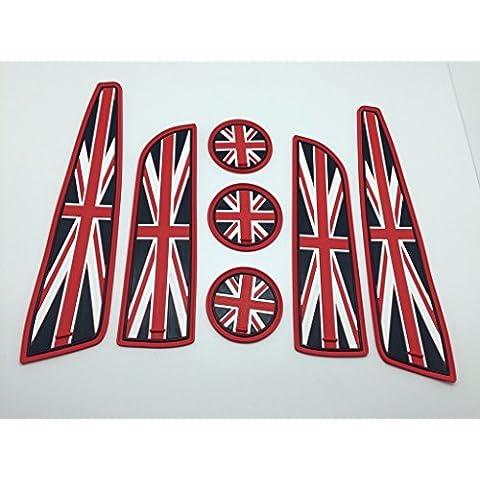 (7) Rosso Bandiera UK Stile sottobicchieri portabicchieri porta laterale Tappetini per Mini Cooper