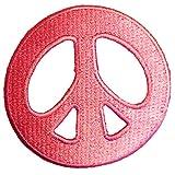 Parches - Peace Paz símbolo Hippie - rosa - 7,2x7,2cm - termoadhesivos bordados aplique para ropa